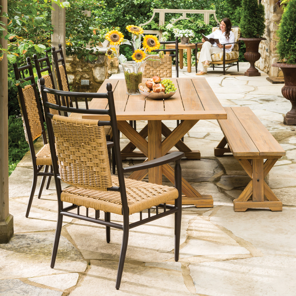 vinyl wicker chairs outdoor stackable lloyd flanders low country dining set with teak table and bench lf lowcountry