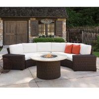 Lloyd Flanders Mesa Curved Wicker Sectional Set with Fire ...