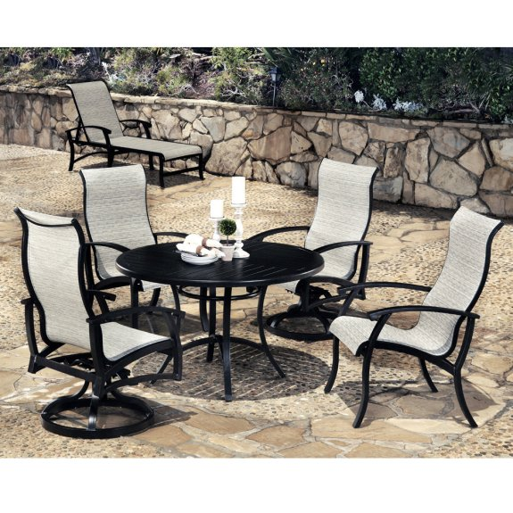 mallin georgetown dining set with high back sling chairs for 4