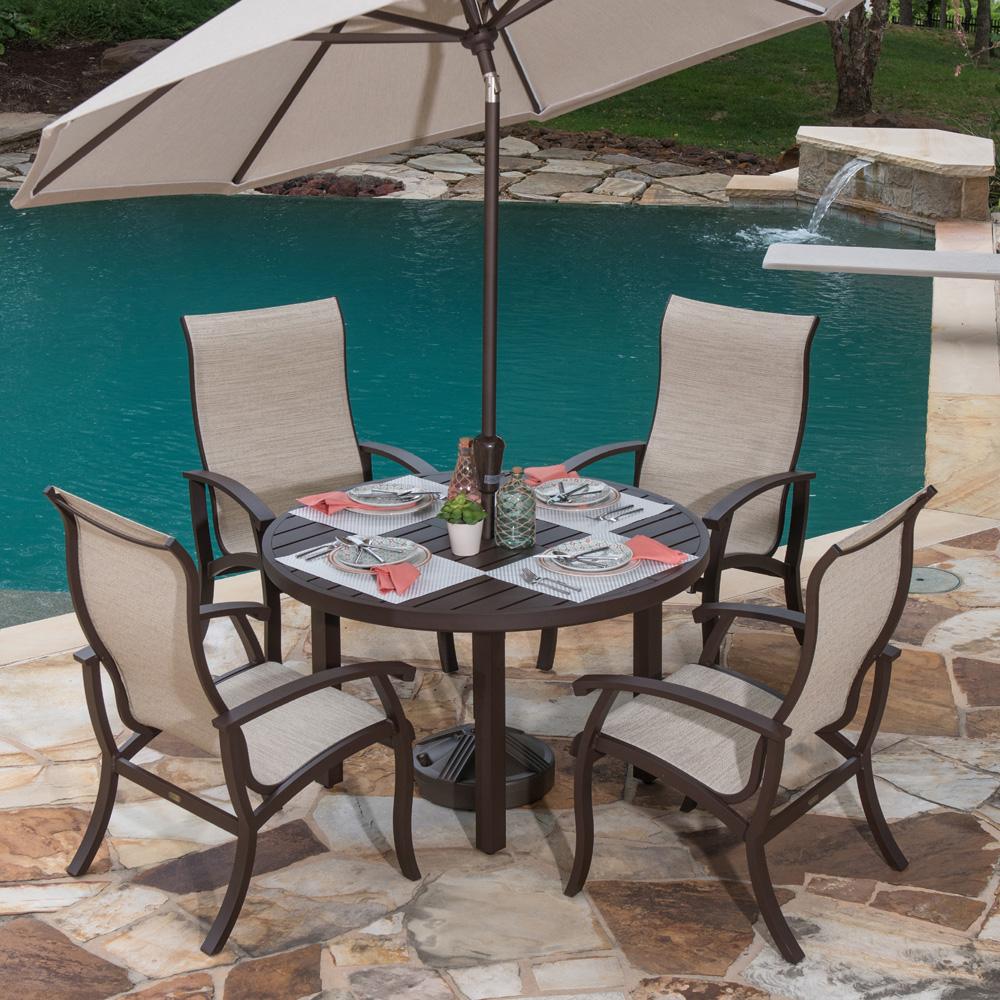 mallin georgetown aluminum sling outdoor dining set