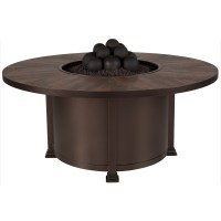 """OW Lee Santorini 54"""" Round Dining Height Fire Pit Table ..."""