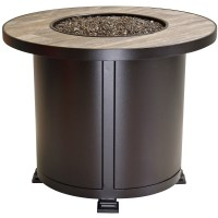 """OW Lee Santorini 30"""" Round Chat Height Fire Pit Table 