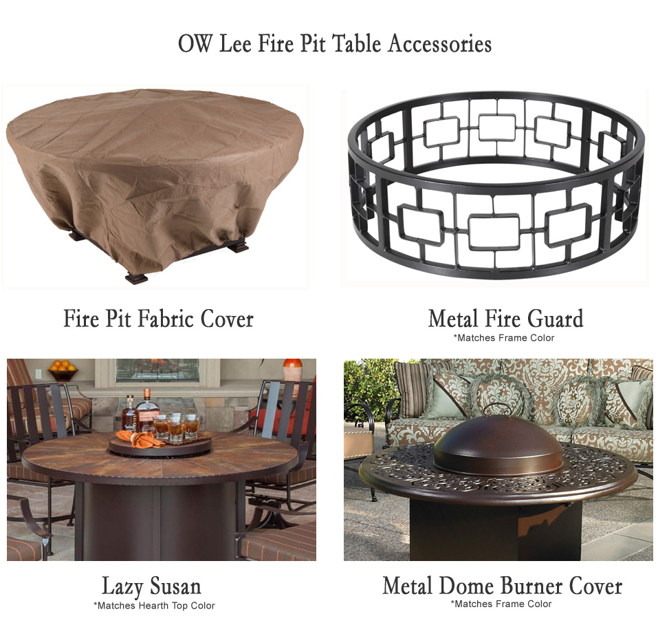 OW Lee Santorini 54 Round Dining Height Fire Pit Table