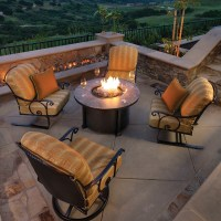"""OW Lee Santorini 42"""" Round Chat Height Fire Pit 
