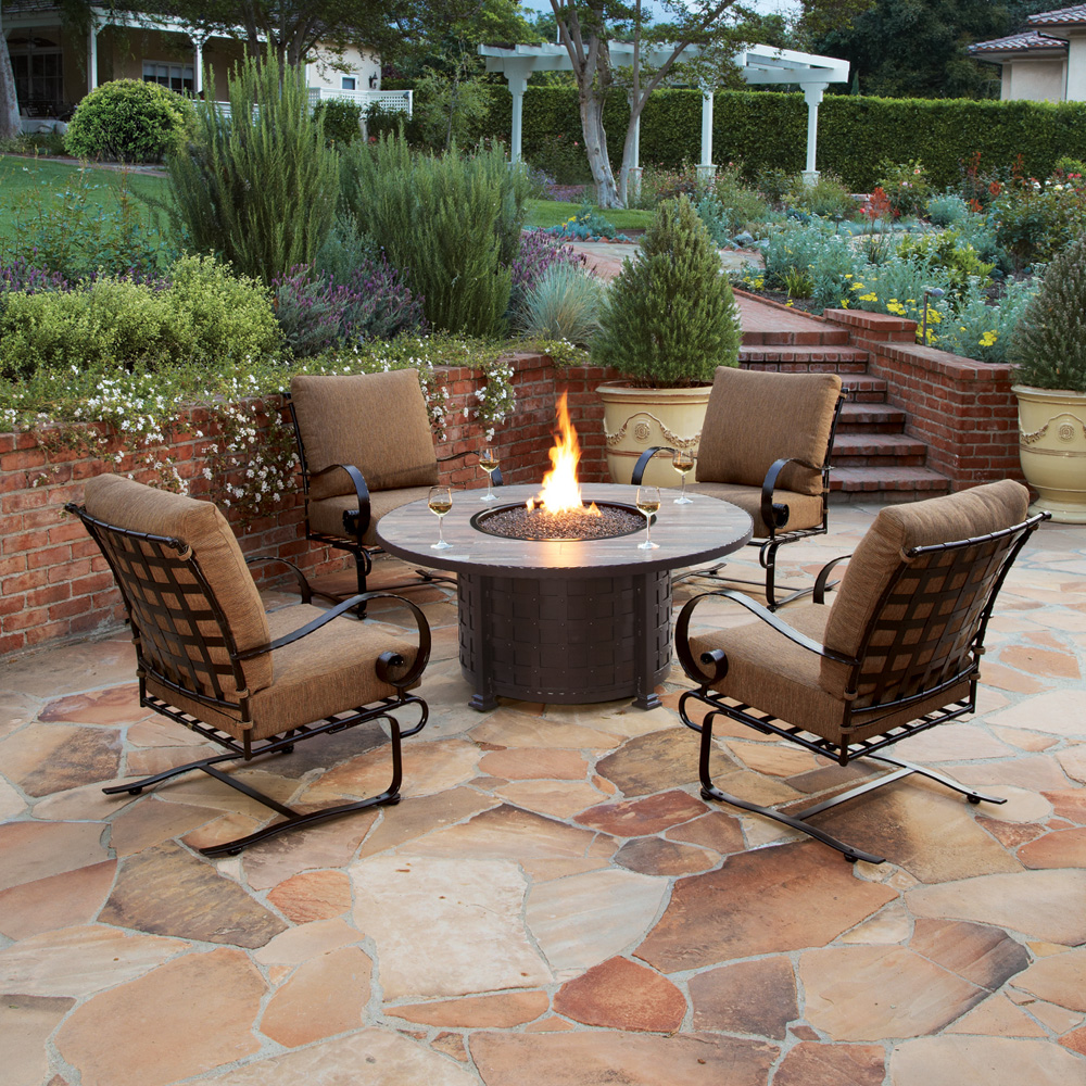 """Ow Lee Classico 36"""" X 58"""" Chat Height Fire Pit Table 51-36c"""