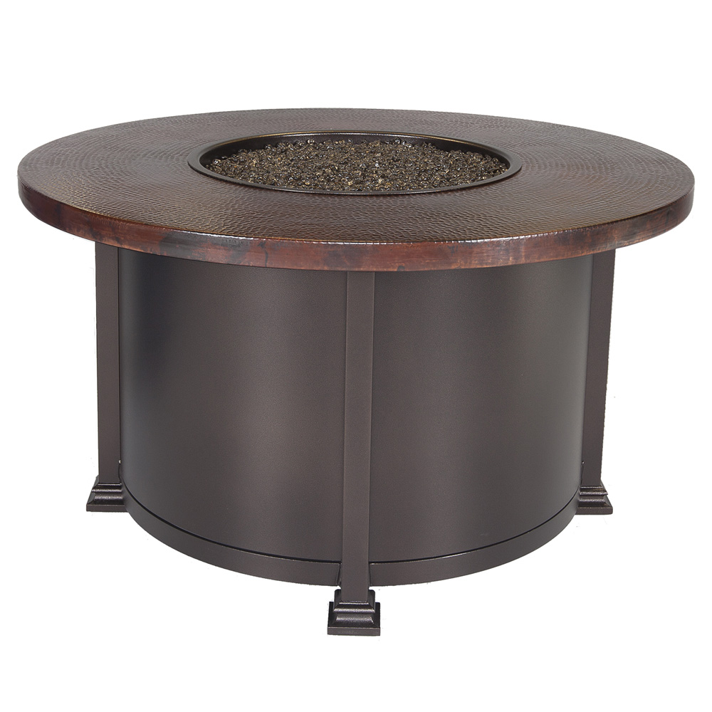 "Ow Lee 54"" Occasional Hammered Copper Fire Pit Table"