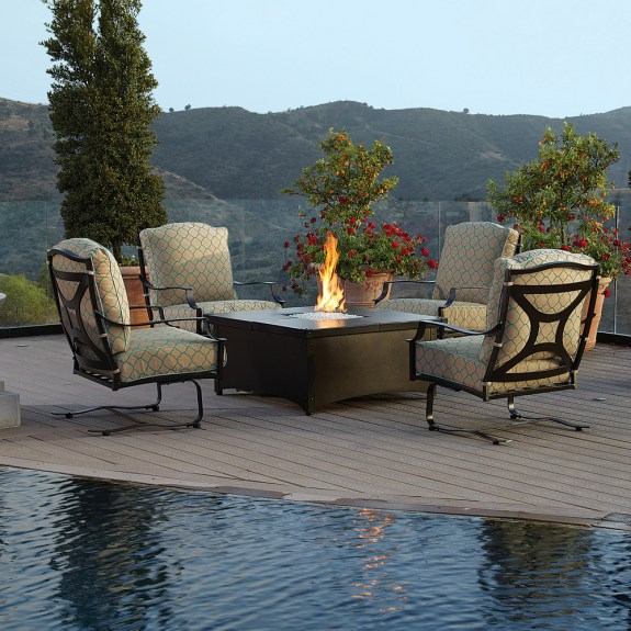 OW Lee Madison Chat Set with Creighton Fire Pit Table  OW