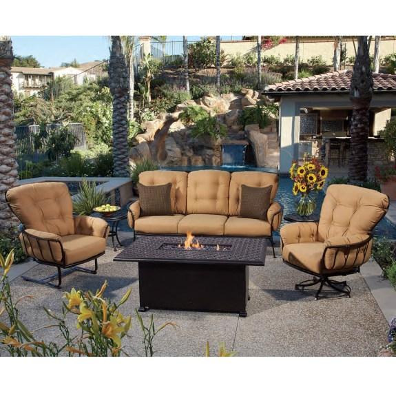 OW Lee Monterra Sofa Set with Richmond Cast Fire Table