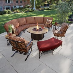 Gray Fabric Sofa Set Axel Bloom Ow Lee San Cristobal Curved Sectional With Fire Pit ...