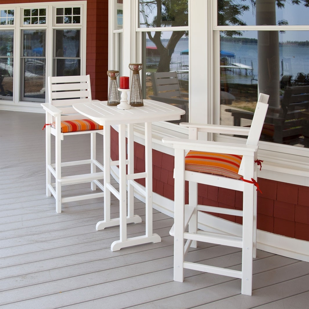 seat cushions for wicker chairs convertible lounge chair polywood® captain bar-height bistro set | pw-captain-set4