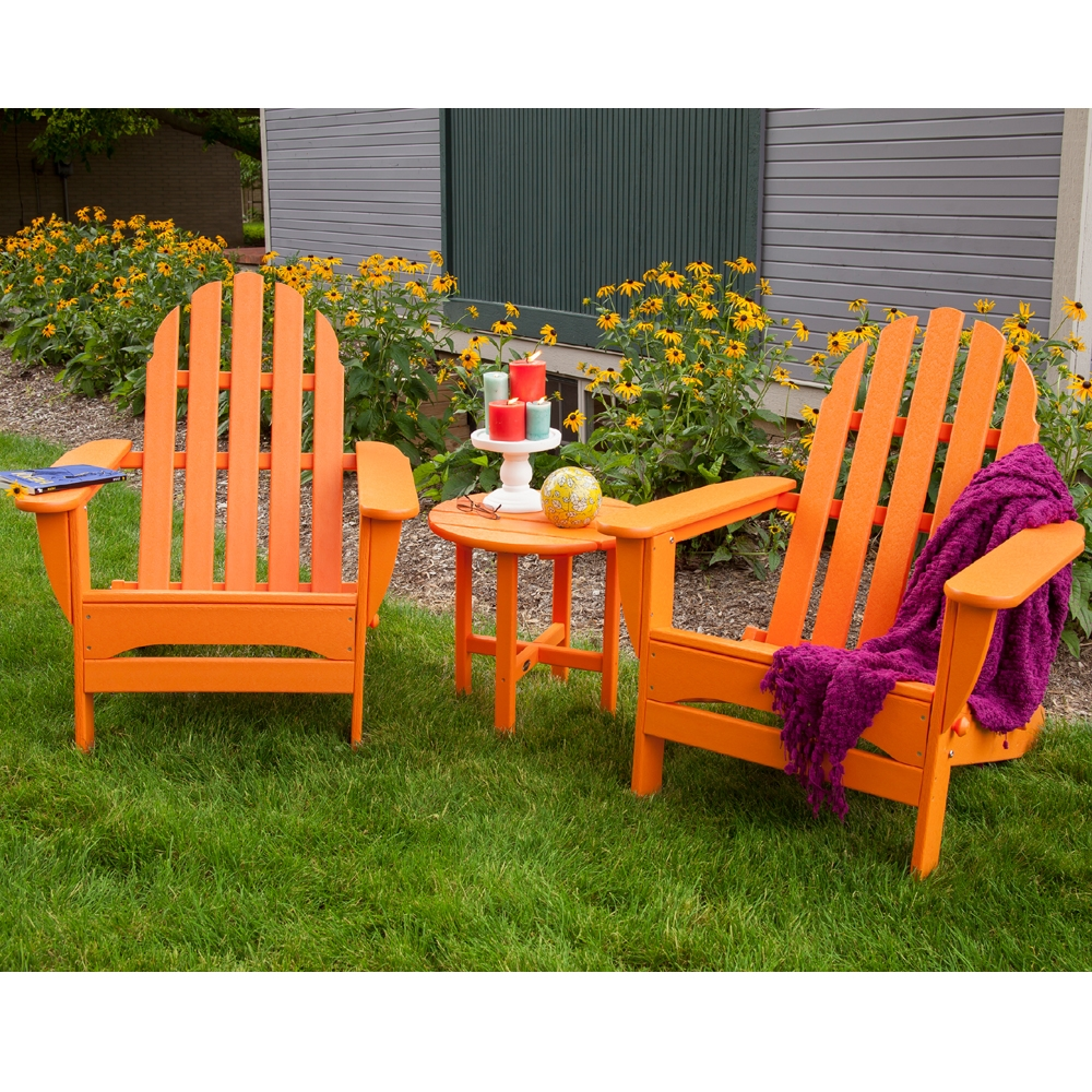 POLYWOOD Classic Adirondack 3 Piece Folding Chair Set