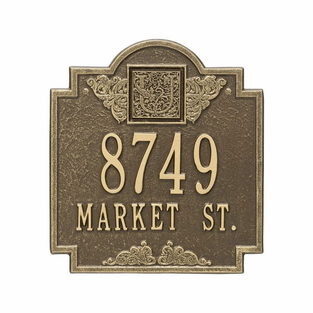 Whitehall Monogram Standard Wall Address Plaque  Two Line