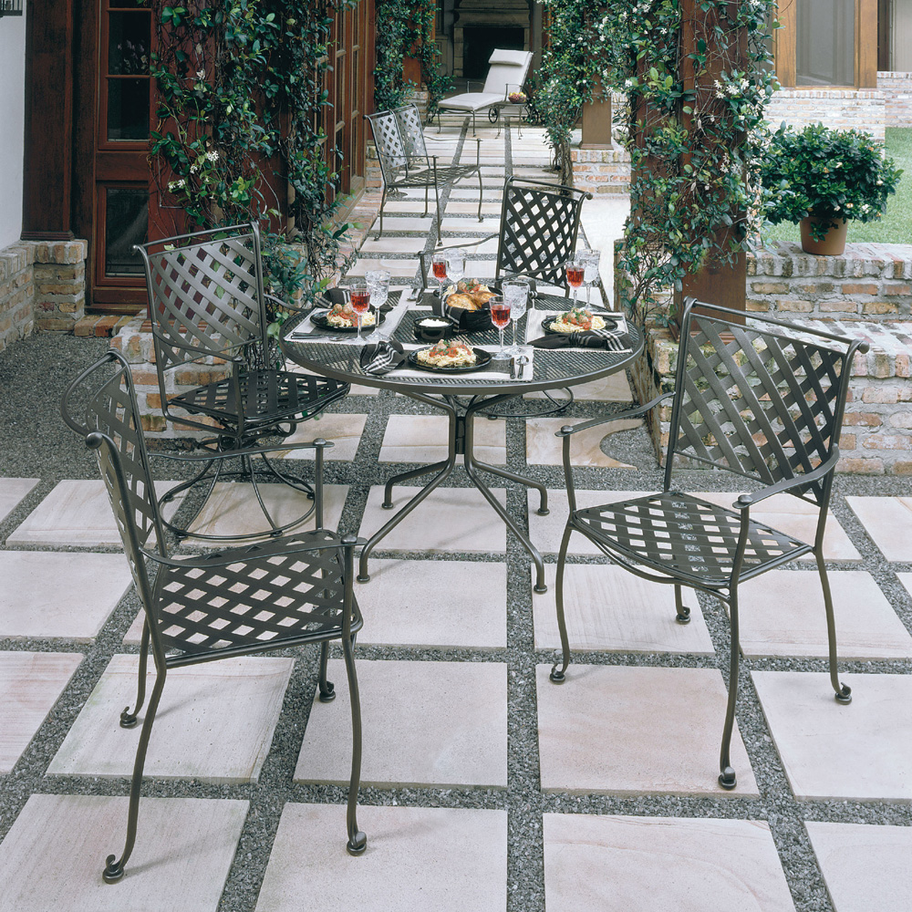 Woodard Tucson Wrought Iron 7 Piece Patio Dining Set Wd