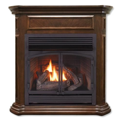 Ventless Fireplace System Dual Fuel Technology Nutmeg Finish with Remote  32000 BTU  ProCom