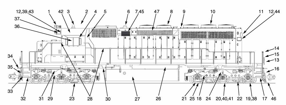 USA Trains SD40-2 Locomotive Parts List