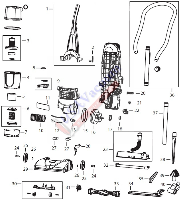 Bissell 6585 PowerForce Turbo Bagless Upright Vacuum Parts