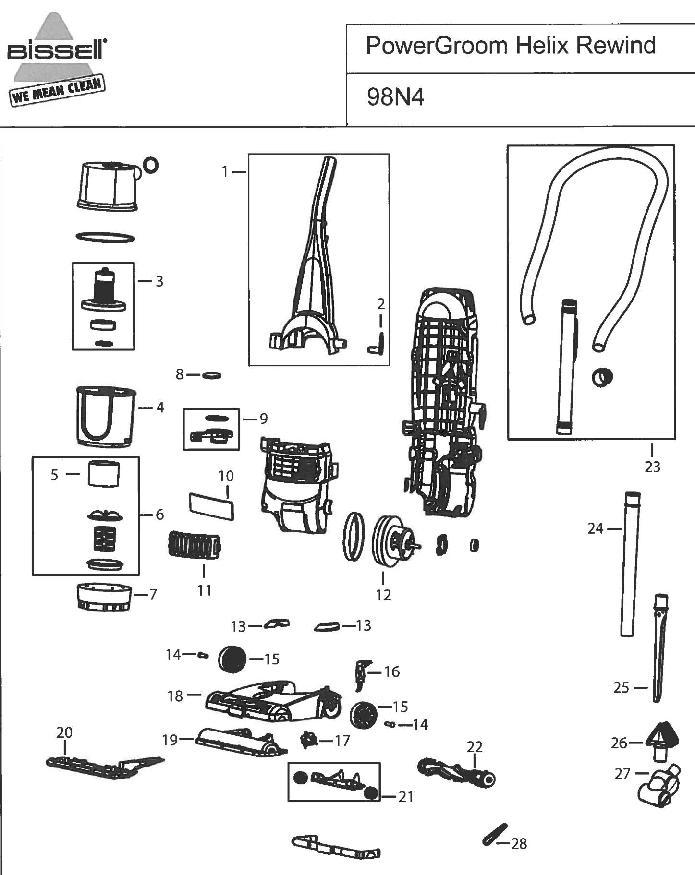 Bissell 98N4 PowerGroom Helix Rewind Upright Vacuum Parts