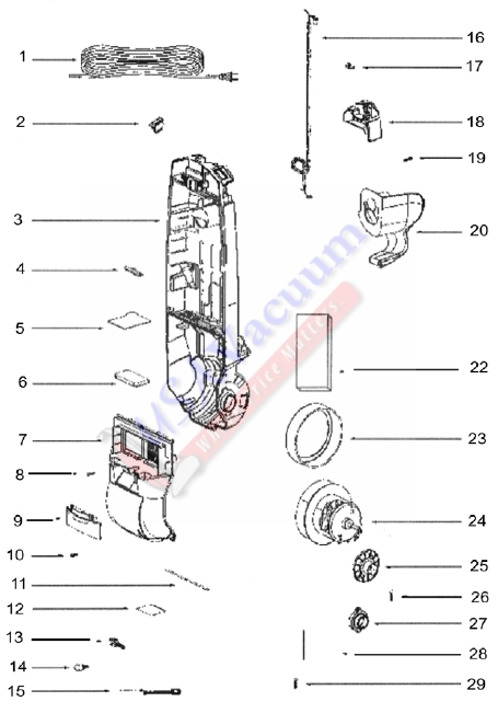Eureka 2903A Upright Vacuum Cleaner Parts List & Schematic
