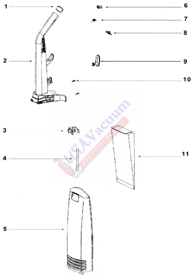 Eureka 2924AS Contour Upright Vacuum Cleaner Parts List