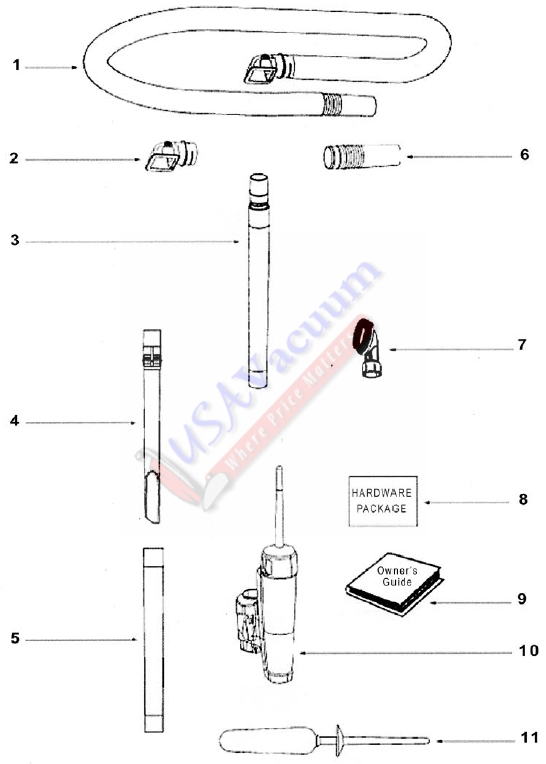 Eureka 2924AS Contour Upright Vacuum Cleaner Parts List