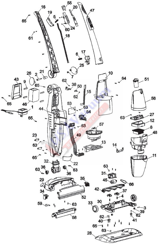 Hoover H2510 Impulse Cordless Power Mop Parts List