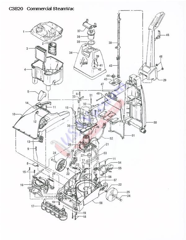 Hoover C3820 SteamVac Spotter Carpet Washer Parts List