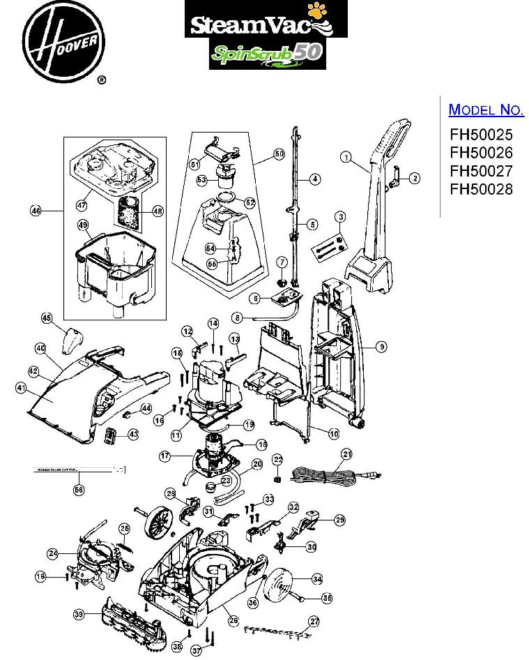 Hoover FH50027 SteamVac Carpet Washer Parts List
