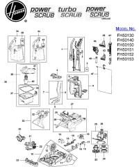 Hoover FH50140 Power Scrub Carpet Washer Parts List