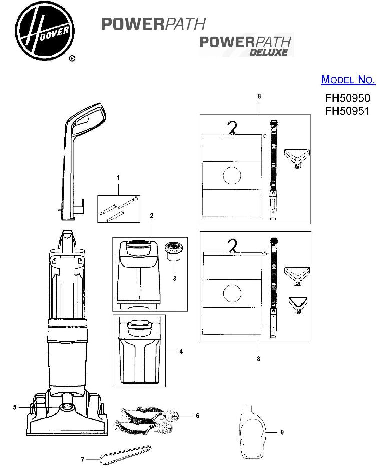 Hoover FH50951 Power Path Deluxe Carpet Washer Parts List
