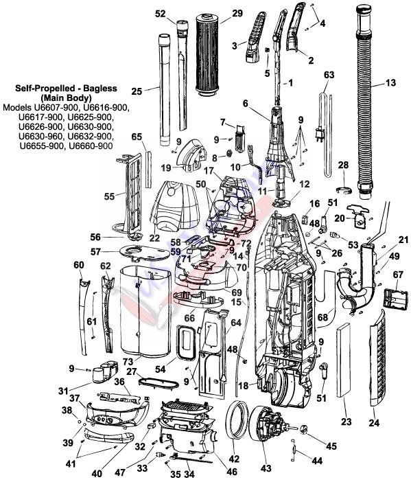 Hoover Self Propelled Bagless Upright U Series Parts List