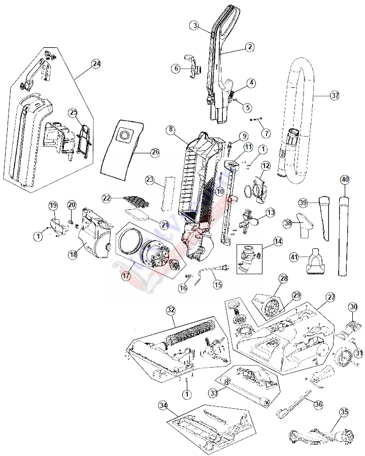 hoover windtunnel t series parts diagram 2007 nissan frontier radio wiring uh30310 bagged upright usa vacuum list schematic