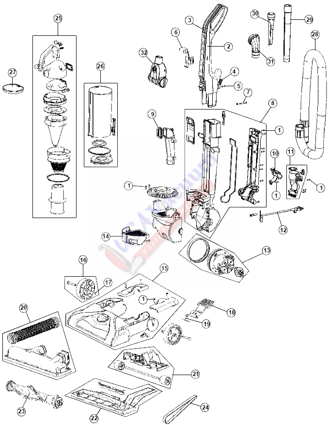 hoover windtunnel t series parts diagram single phase motor wiring with capacitor start run uh70107 upright vacuum usa list schematic
