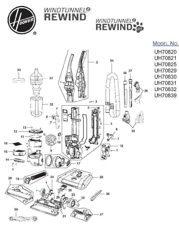 Hoover UH70820 WindTunnel 2 Rewind Upright Vacuum Parts
