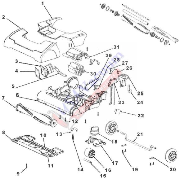 Sanitaire SC9150 DuraLux Upright Vacuum Cleaner Parts