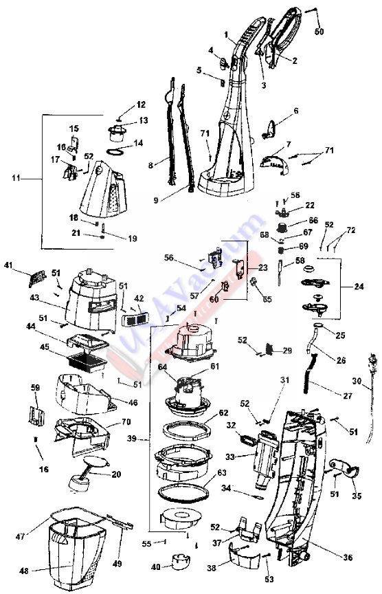 Hoover H2800 FloorMate Hard Floor Cleaner Parts List