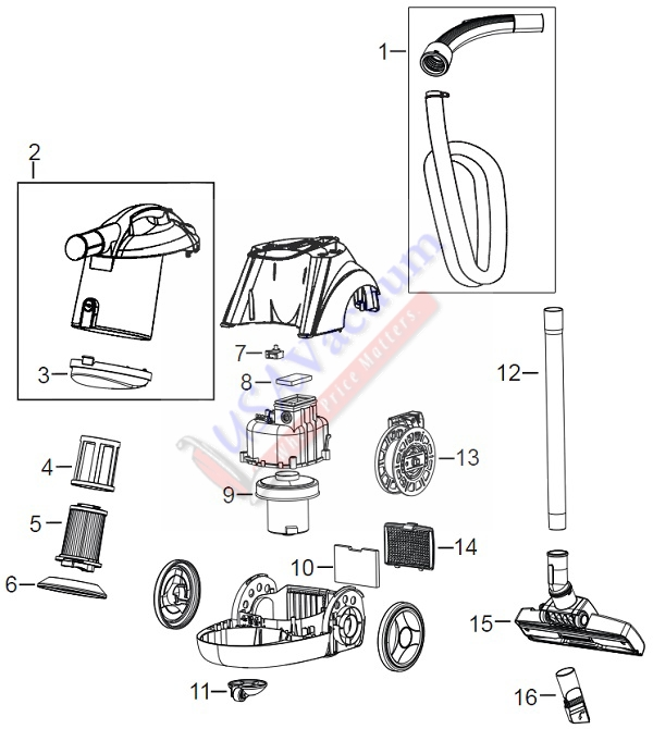 Bissell 10N2 59G4 Zing Canister Vac Parts List & Schematic