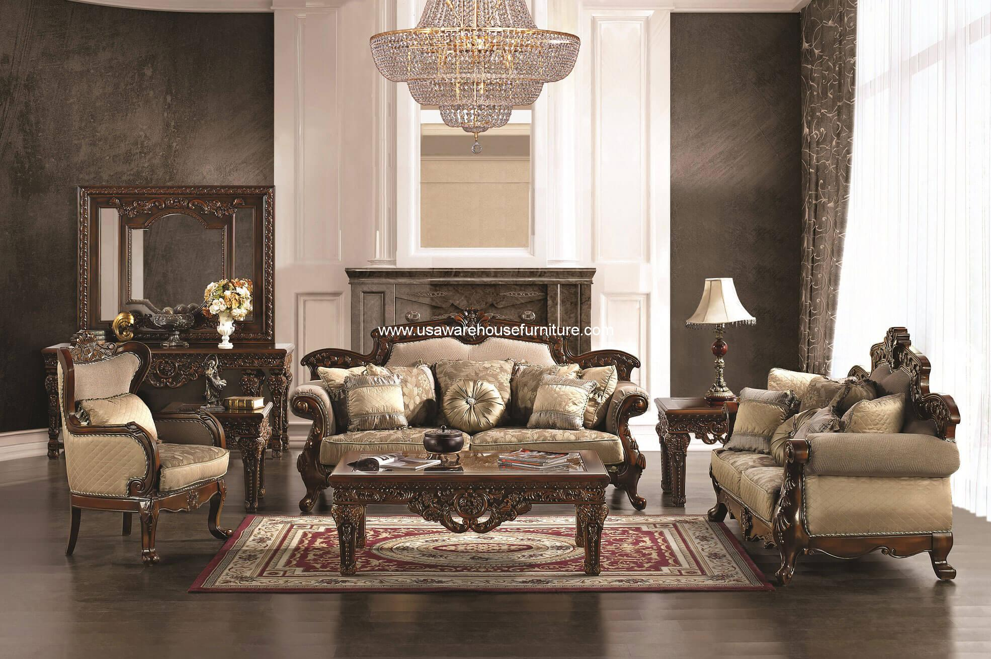 Hd 296 Homey Design Royal Wood Trim Sofa Set Usa Warehouse Furniture