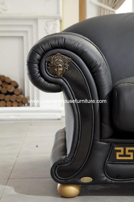 3 Piece Versace Italian Beige Leather Living Set Usa Warehouse