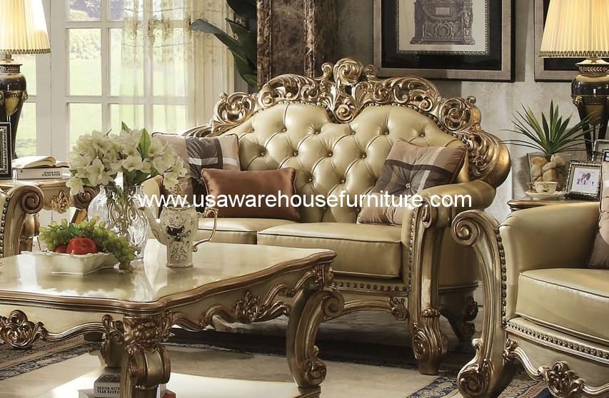 ACME Furniture Gold Patina Vendome Royal Living Set  USA