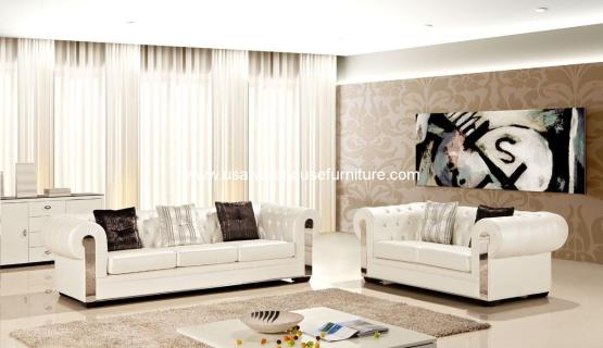2 Piece Alexandrina 2 Ivory Leather Living Set