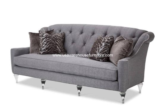 Michael Amini Studio Adele Tufted Sofa with Crystals