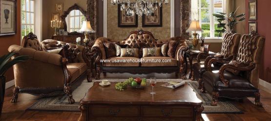 Dresden Golden Brown Velvet Sofa Set