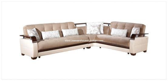 Demka Dogal Sectional Sleeper Light Brown