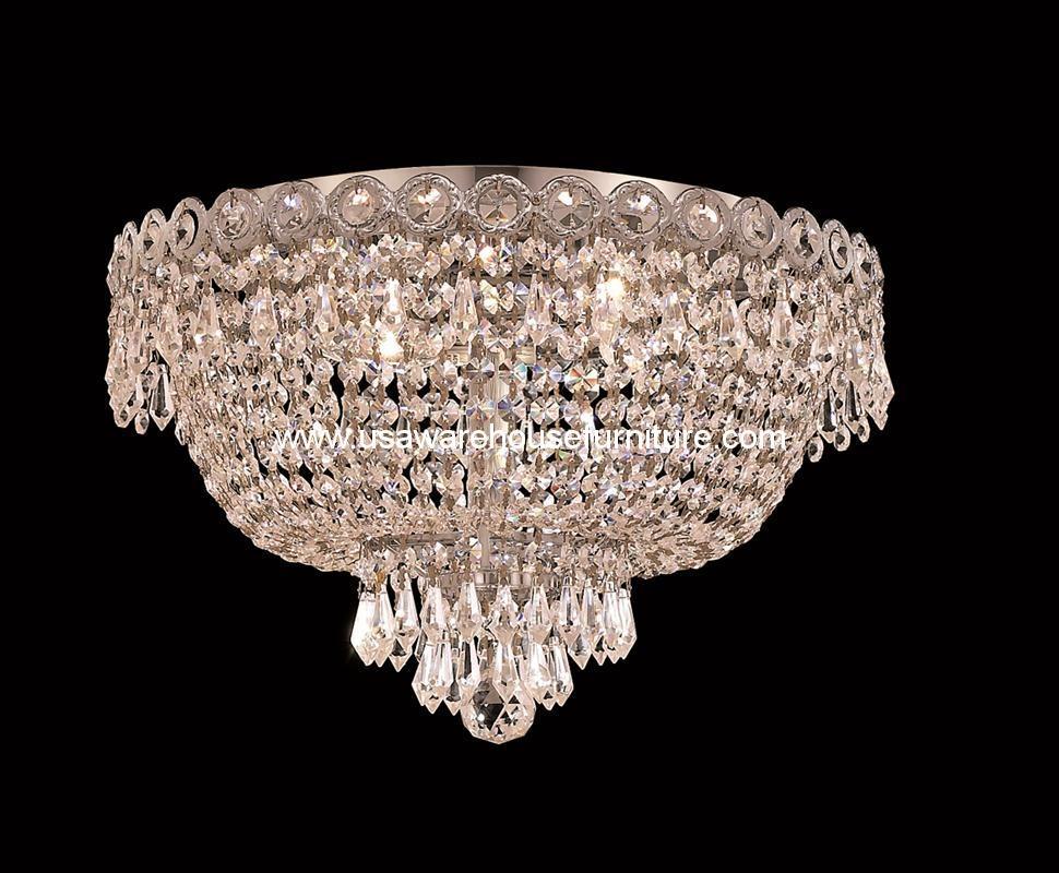 "4 Lights Flush Mount 16"" Crystal Chandelier 1900 Century"