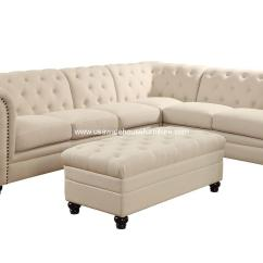 Tufted Sectionals Sofas Sofaworks Blackburn 4 Piece Roy Button Fabric Sectional Set Usa