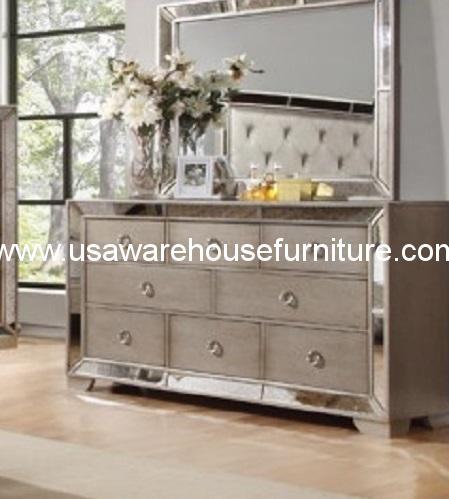 Celine Antique Silver Bronze Mirror Drawer Dresser  USA Warehouse Furniture
