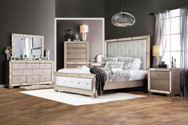 Loraine Antique Silver Mirrored 4 Piece Bedroom Set - Usa