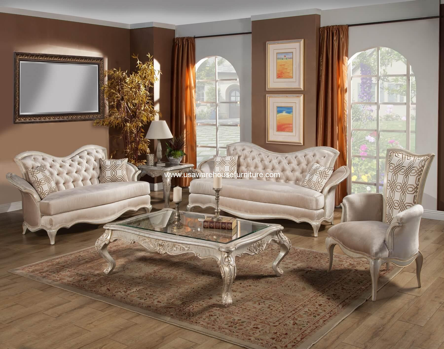fabric sofa sets with wood trim style 2018 3 piece perlita set champagne gold