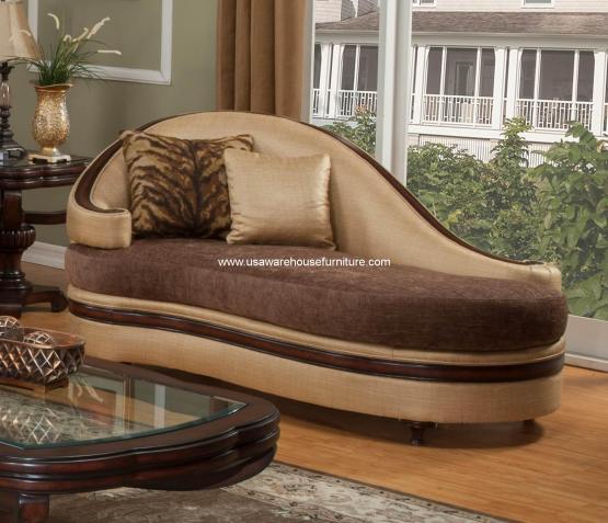 Emma Chaise Lounge Wood Trim Dark Brown
