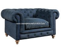 Greenwich Chair Tufted Blue Denim Fabric - USA Warehouse ...
